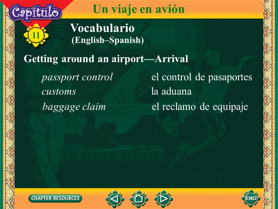 Un viaje en avión Vocabulario Getting around an airport—Arrival