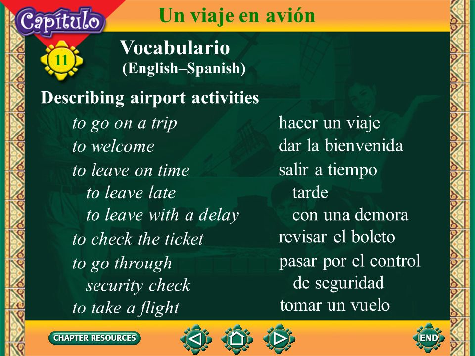 Un viaje en avión Vocabulario Describing airport activities
