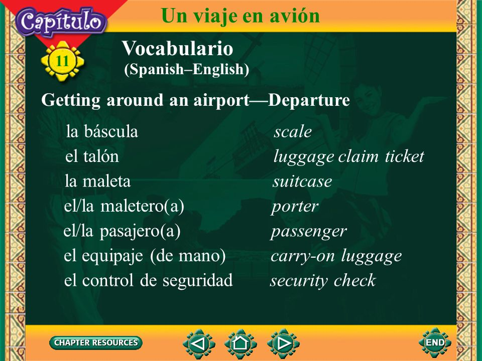 Un viaje en avión Vocabulario Getting around an airport—Departure