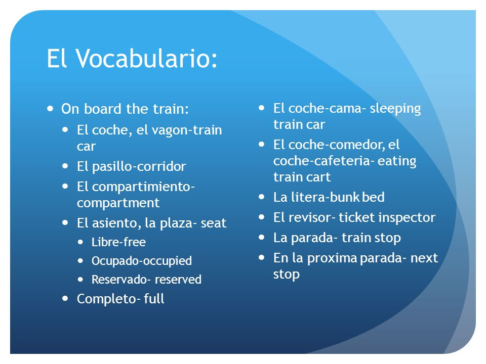 El Vocabulario: On board the train: El coche-cama- sleeping train car
