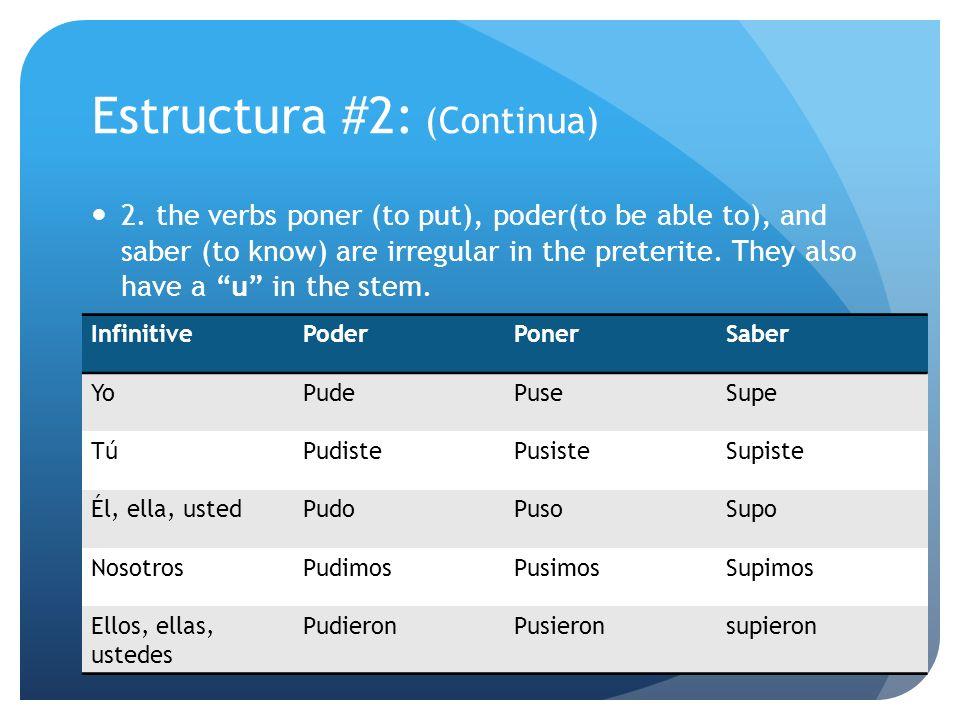 Estructura #2: (Continua)