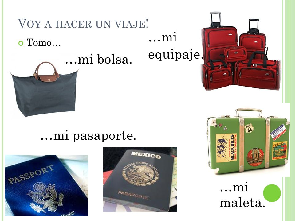 …mi equipaje. …mi bolsa. …mi pasaporte. …mi maleta.