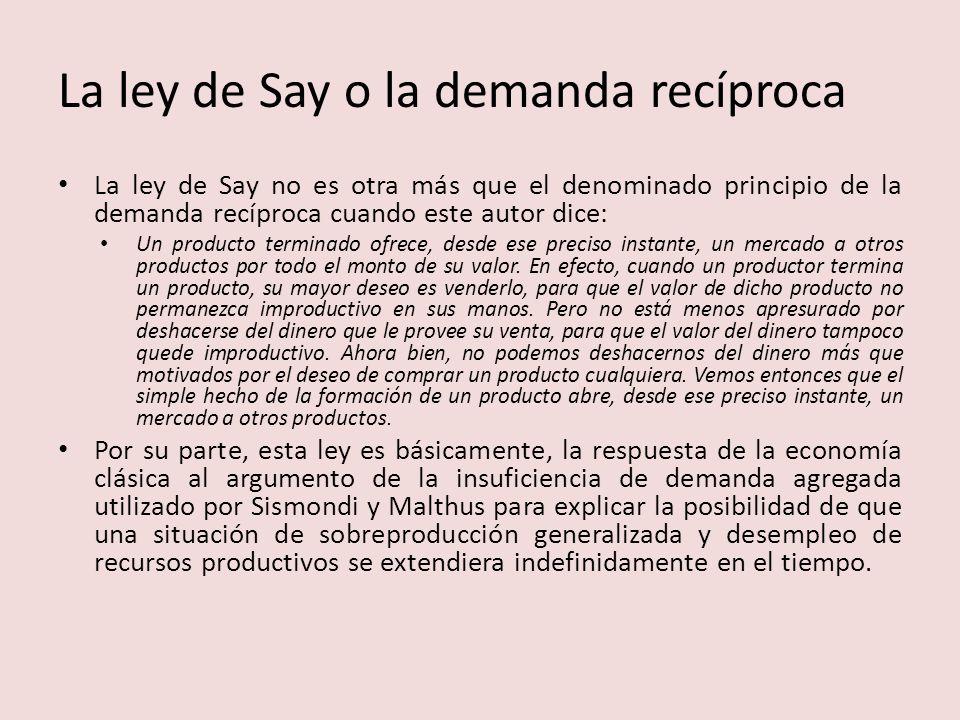 La ley de Say o la demanda recíproca
