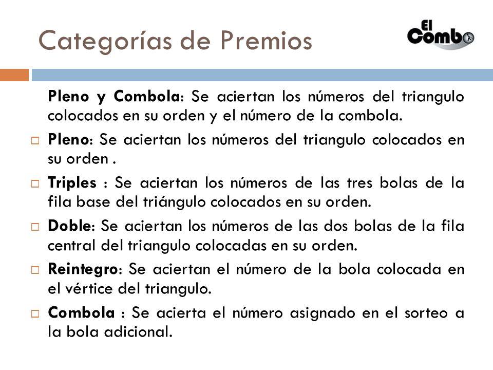 Categorías de Premios Pleno y Combola: Se aciertan los números del triangulo colocados en su orden y el número de la combola.