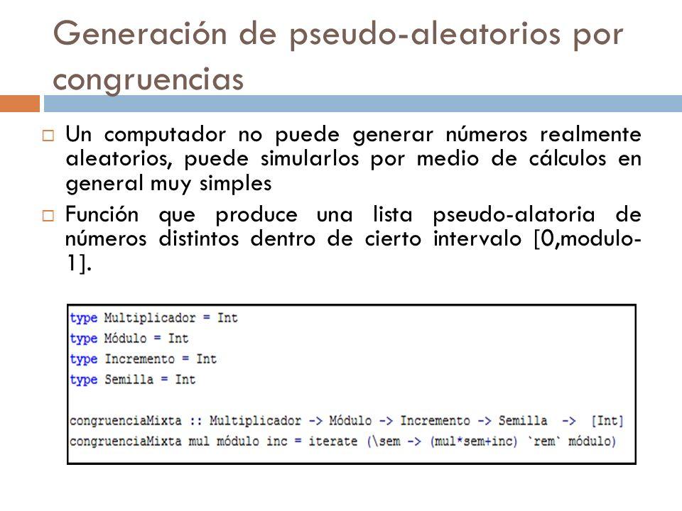 Generación de pseudo-aleatorios por congruencias