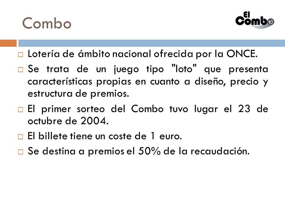 Combo Lotería de ámbito nacional ofrecida por la ONCE.