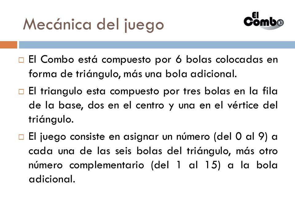 Mecánica del juego El Combo está compuesto por 6 bolas colocadas en forma de triángulo, más una bola adicional.