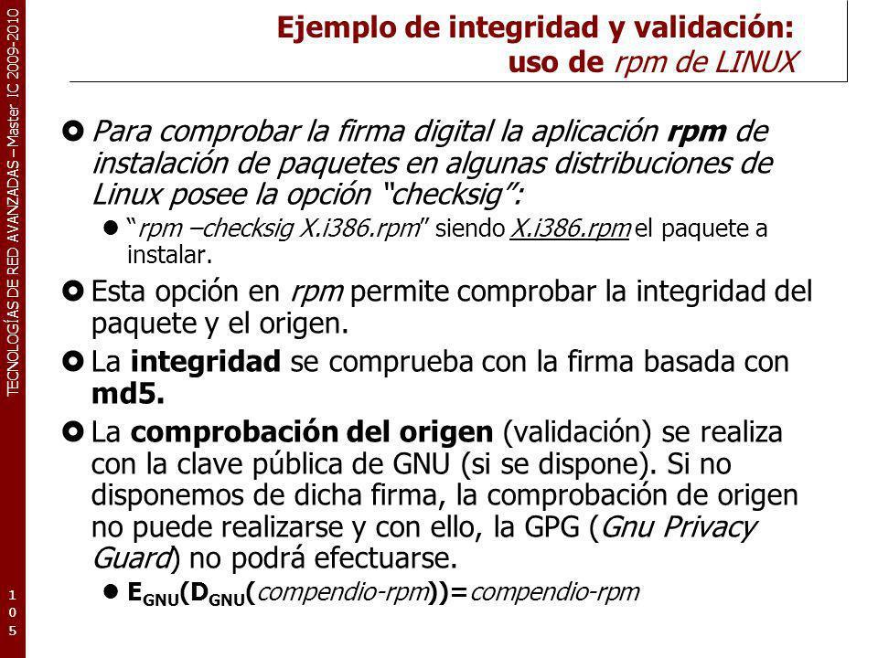 Ejemplo de integridad y validación: uso de rpm de LINUX