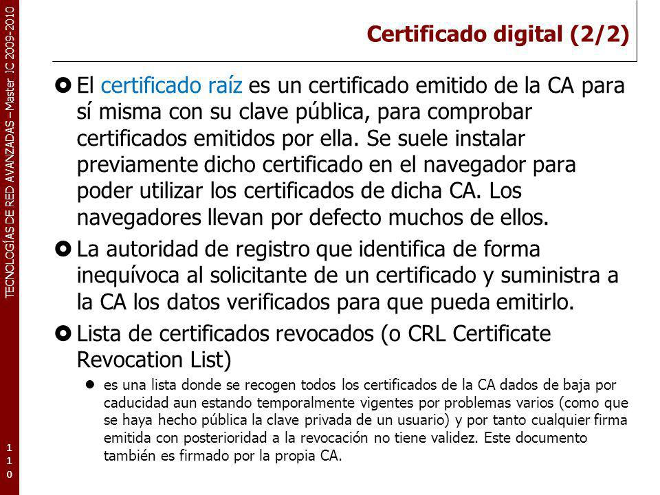 Certificado digital (2/2)