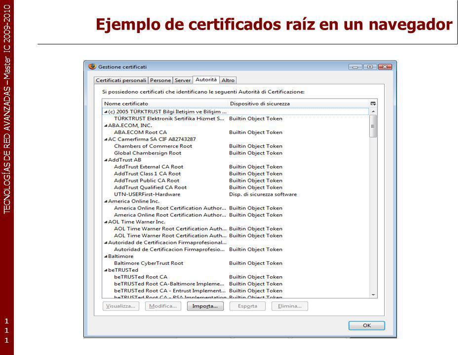 Ejemplo de certificados raíz en un navegador