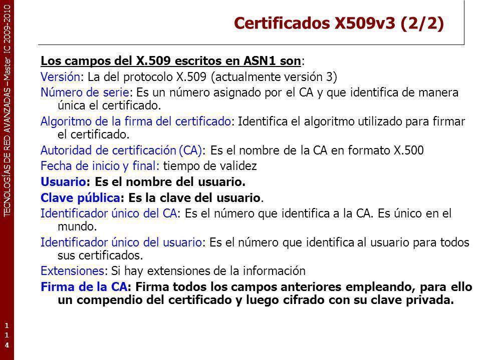 Certificados X509v3 (2/2)