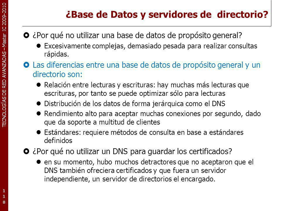 ¿Base de Datos y servidores de directorio