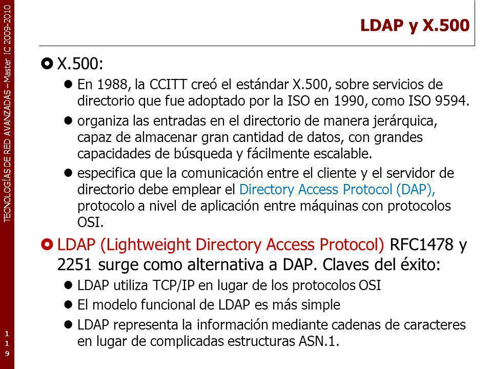 LDAP y X.500 X.500: En 1988, la CCITT creó el estándar X.500, sobre servicios de directorio que fue adoptado por la ISO en 1990, como ISO 9594.