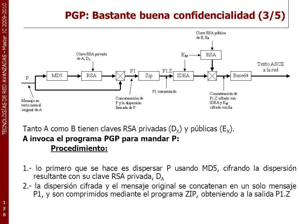 PGP: Bastante buena confidencialidad (3/5)