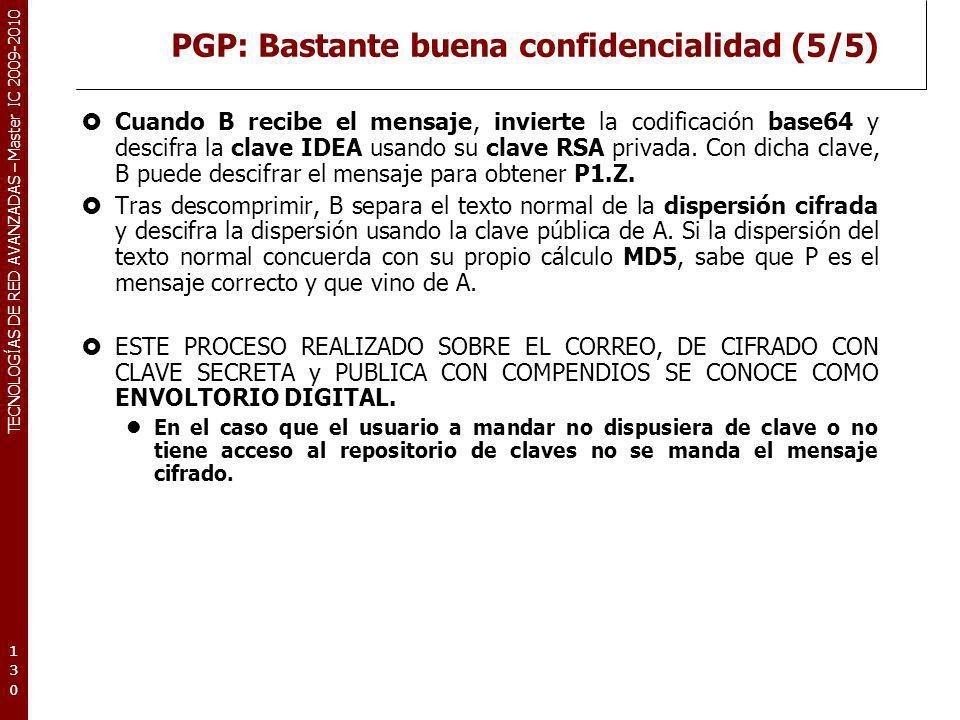 PGP: Bastante buena confidencialidad (5/5)