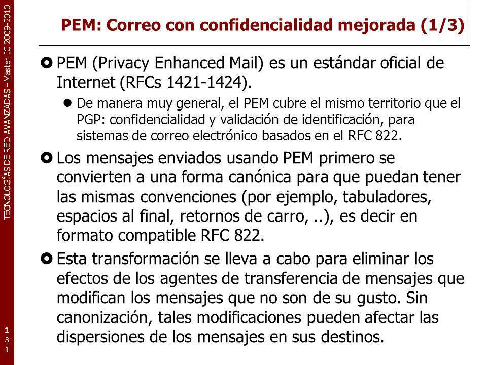 PEM: Correo con confidencialidad mejorada (1/3)