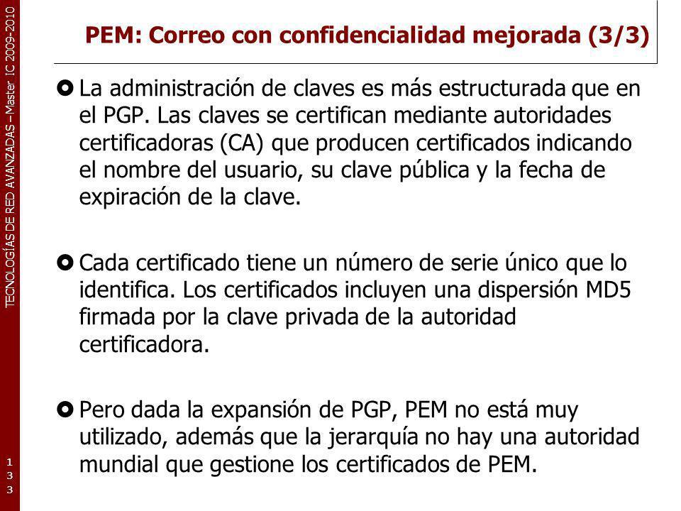 PEM: Correo con confidencialidad mejorada (3/3)