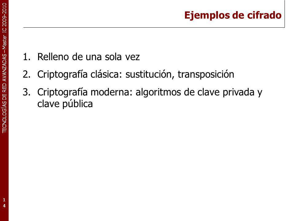 Ejemplos de cifrado Relleno de una sola vez. Criptografía clásica: sustitución, transposición.