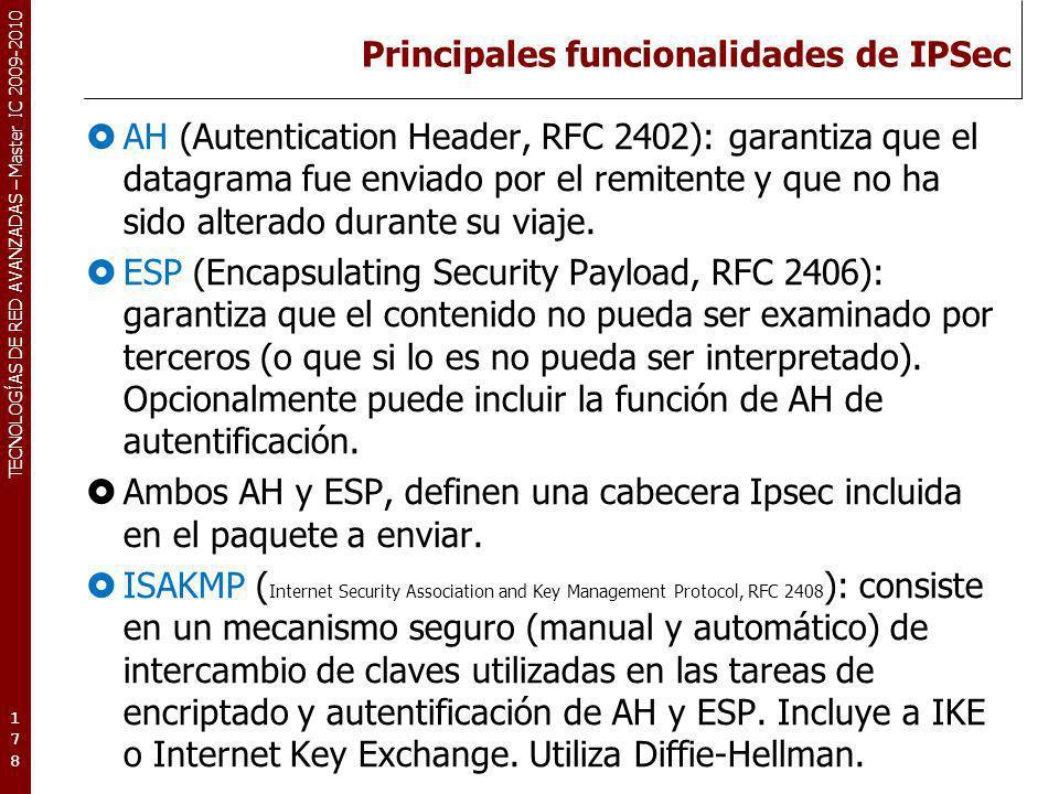 Principales funcionalidades de IPSec