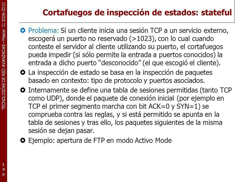 Cortafuegos de inspección de estados: stateful