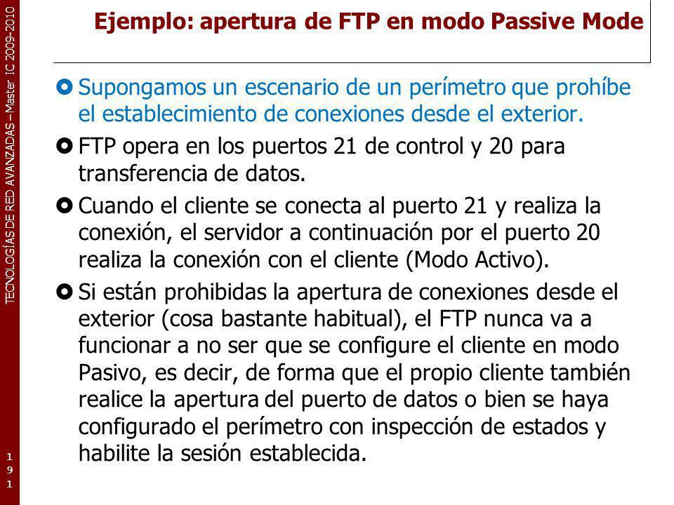 Ejemplo: apertura de FTP en modo Passive Mode