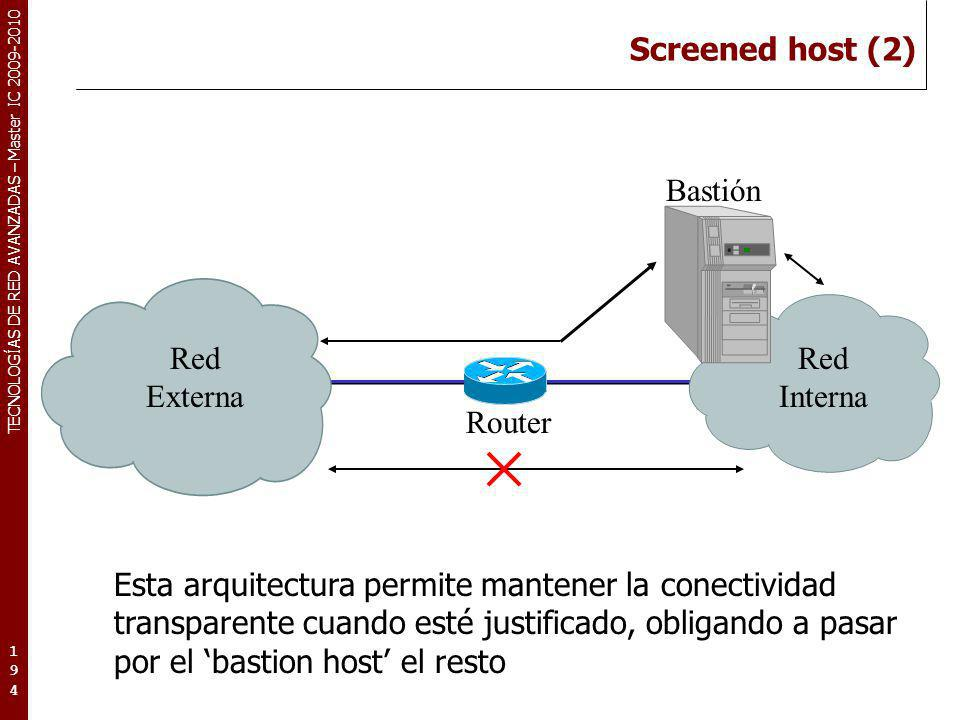 Screened host (2) Bastión. Red. Externa. Interna. Router.