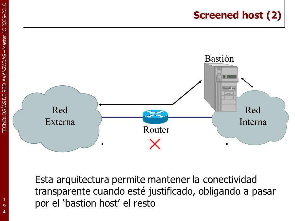 Screened host (2) Bastión. Red. Externa. Interna. Router.