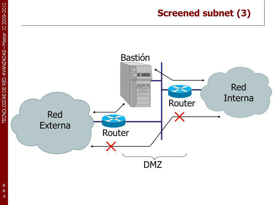 Screened subnet (3) Bastión Red Externa Interna Router DMZ