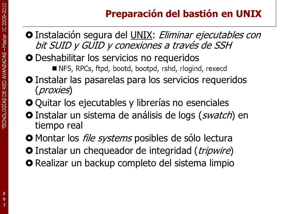 Preparación del bastión en UNIX