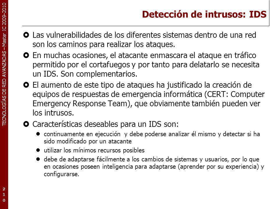 Detección de intrusos: IDS