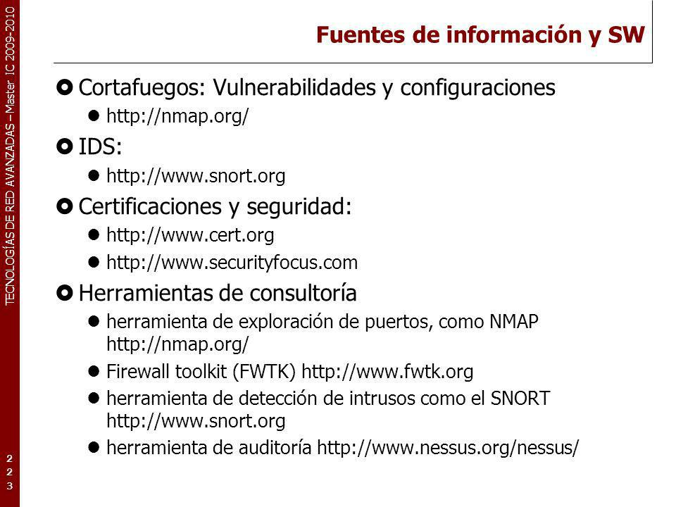 Fuentes de información y SW