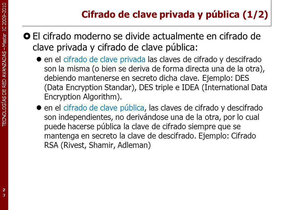 Cifrado de clave privada y pública (1/2)