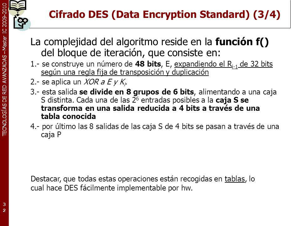 Cifrado DES (Data Encryption Standard) (3/4)