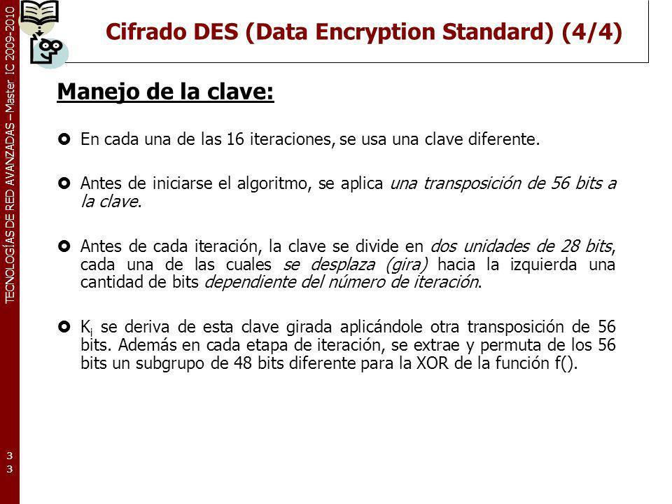Cifrado DES (Data Encryption Standard) (4/4)