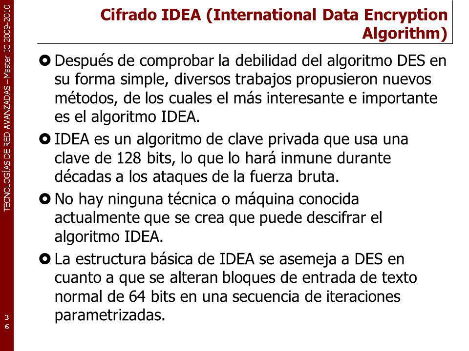 Cifrado IDEA (International Data Encryption Algorithm)