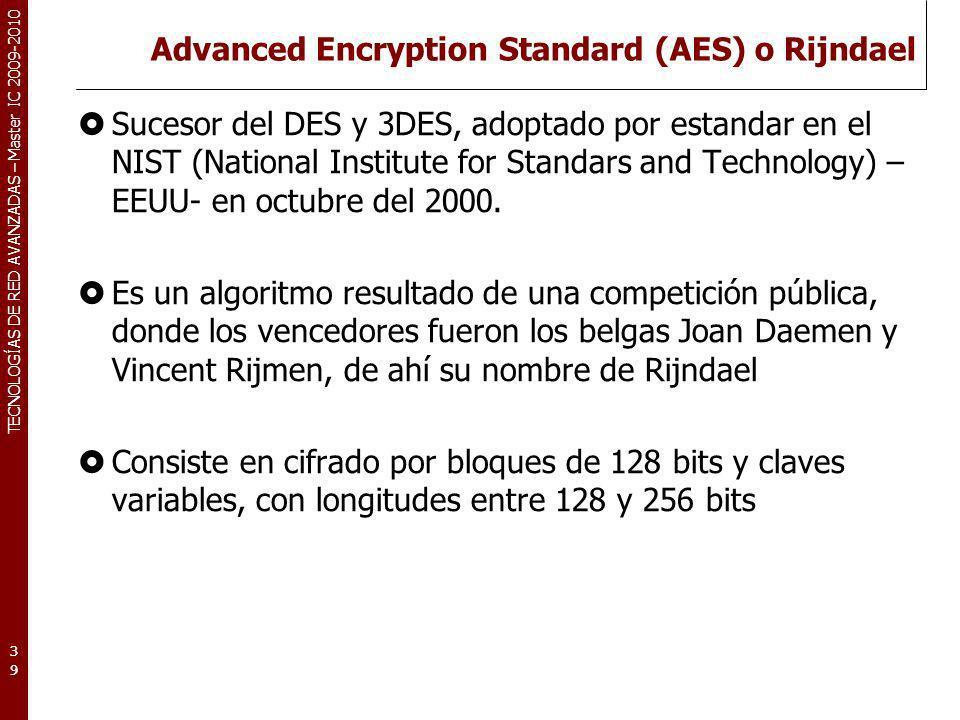 Advanced Encryption Standard (AES) o Rijndael