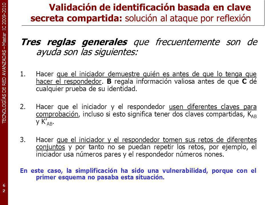 Validación de identificación basada en clave secreta compartida: solución al ataque por reflexión
