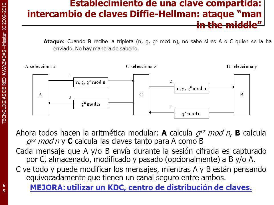 MEJORA: utilizar un KDC, centro de distribución de claves.