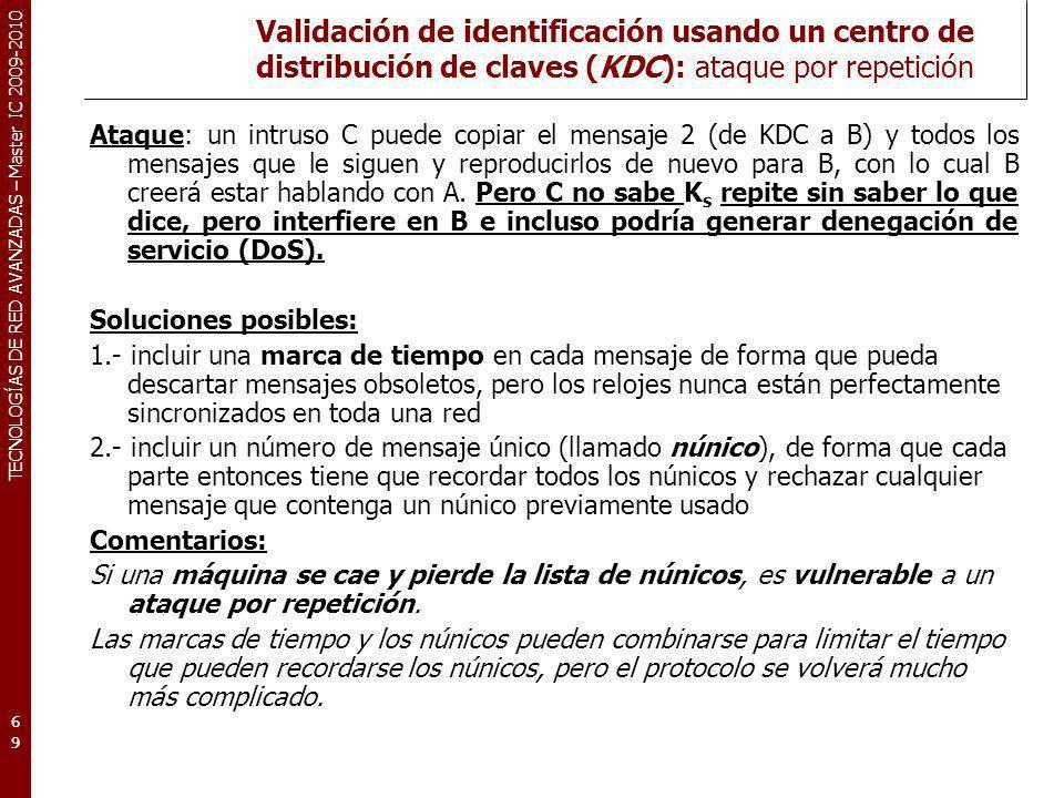 Validación de identificación usando un centro de distribución de claves (KDC): ataque por repetición