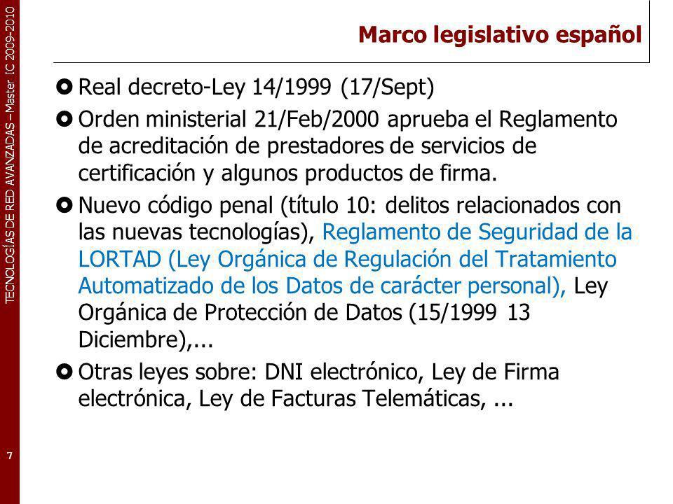 Marco legislativo español