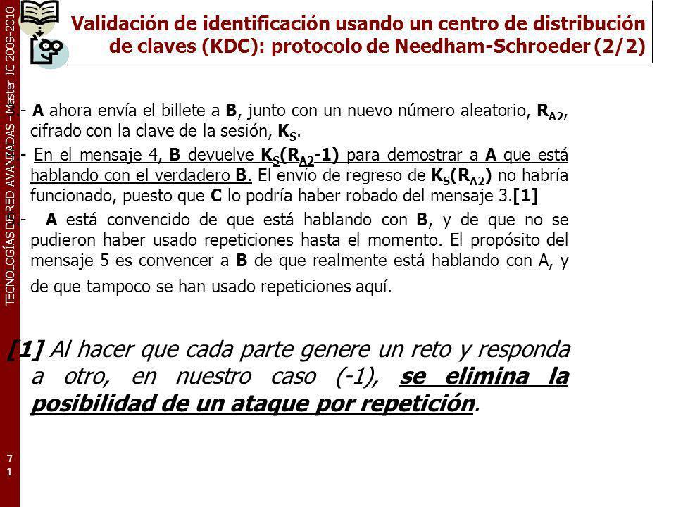 Validación de identificación usando un centro de distribución de claves (KDC): protocolo de Needham-Schroeder (2/2)