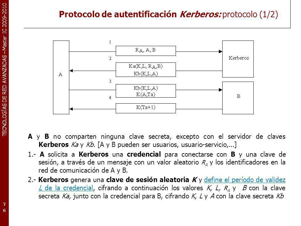 Protocolo de autentificación Kerberos: protocolo (1/2)