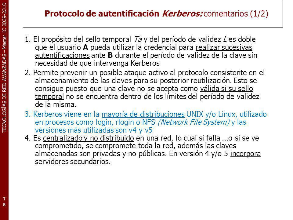 Protocolo de autentificación Kerberos: comentarios (1/2)