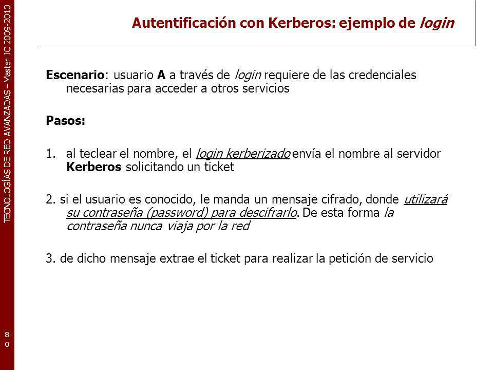 Autentificación con Kerberos: ejemplo de login
