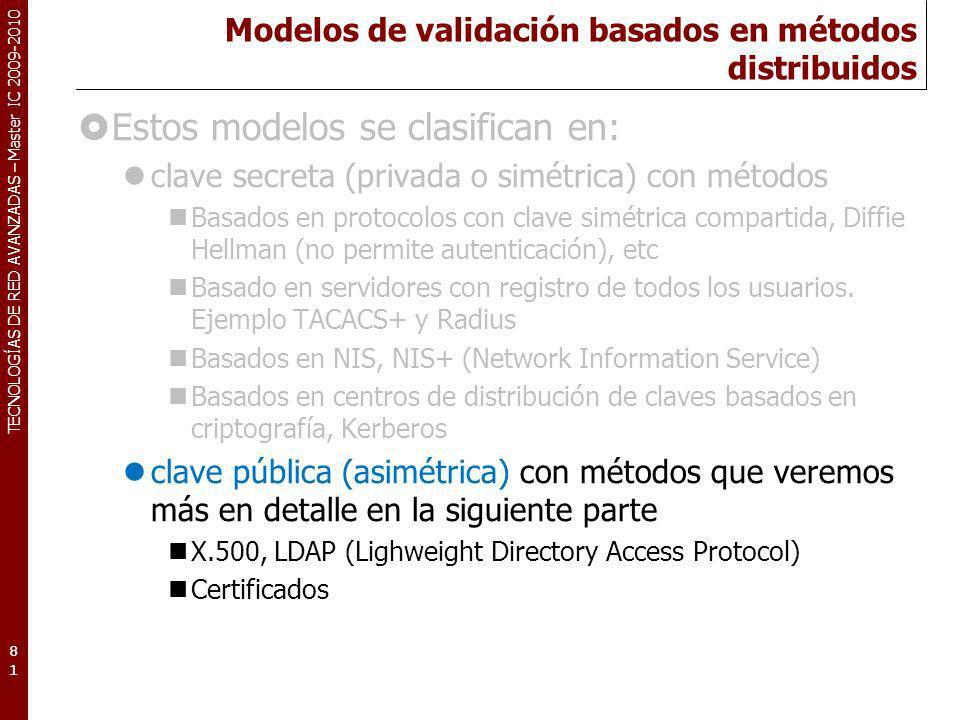 Modelos de validación basados en métodos distribuidos