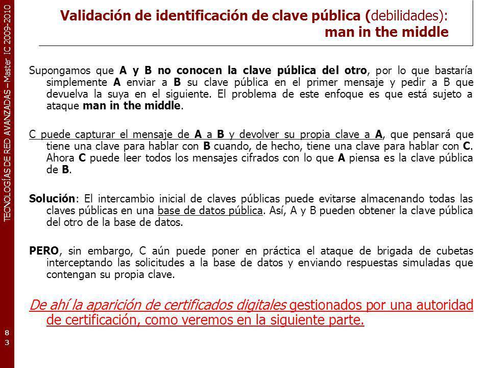 Validación de identificación de clave pública (debilidades): man in the middle