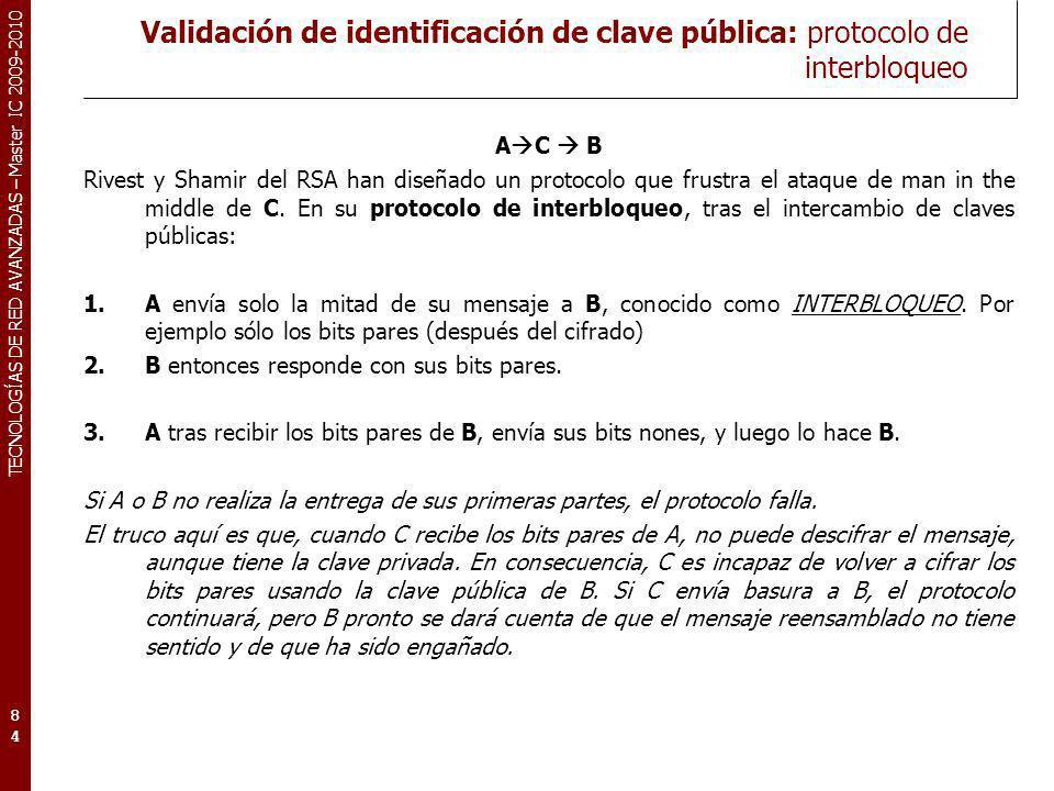 Validación de identificación de clave pública: protocolo de interbloqueo
