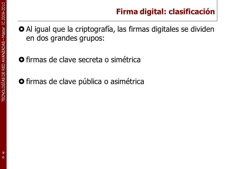 Firma digital: clasificación