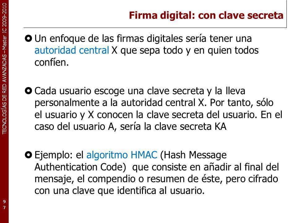 Firma digital: con clave secreta