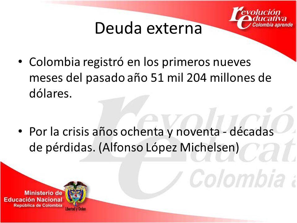 Deuda externa Colombia registró en los primeros nueves meses del pasado año 51 mil 204 millones de dólares.